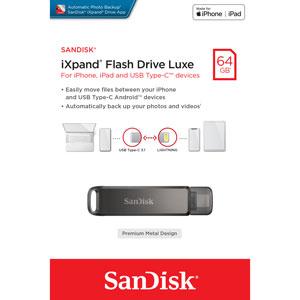 De SanDisk 64 GB Ixpand flashdrive luxe in verpakking.