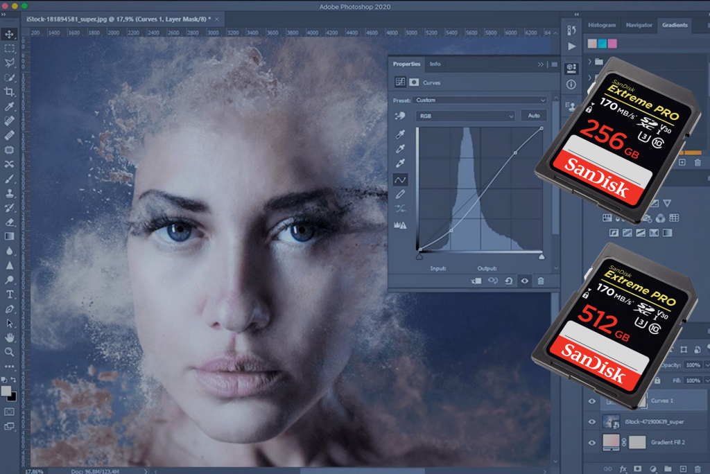 Een foto dat van een SD kaart komt om te photoshoppen. Met 2 SD kaarten als voorbeeld.