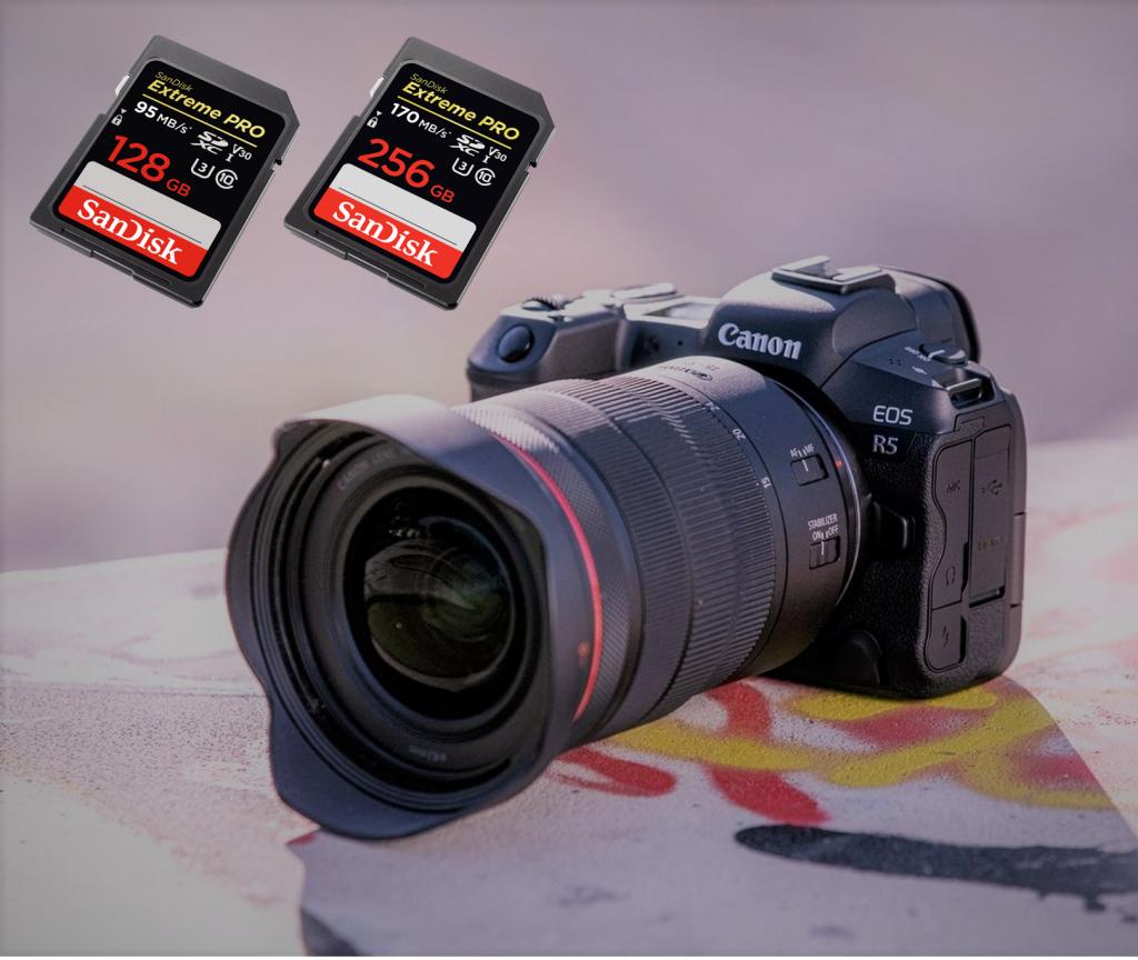 Een Canon EOS R5 met 2 SD kaarten om foto's te maken en op te slaan.